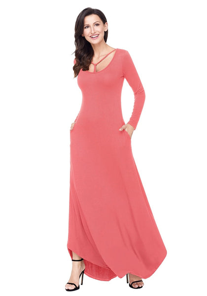 Right angled shot of model in dusty coral T-front long sleeves maxi dress