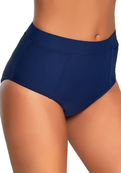 Right angled shot of model in navy elastic mid-waist side pockets bikini bottom