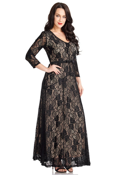 Right angled shot of model wearing black floral hollow lace maxi dress