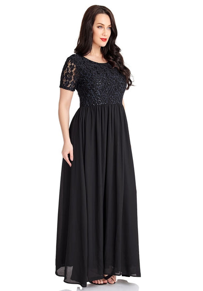 Right angled shot of model wearing black floral hollow lace sequin-embellished maxi dress