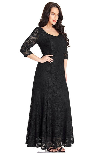 Right angled shot of model wearing black floral lace overlay sweetheart neckline maxi dress