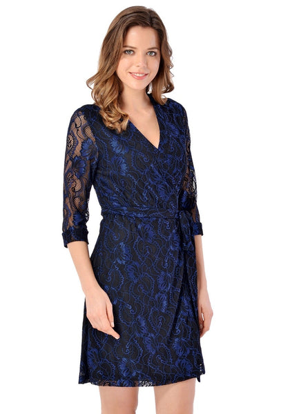 Right angled shot of model wearing navy floral lace V neckline true wrap dress