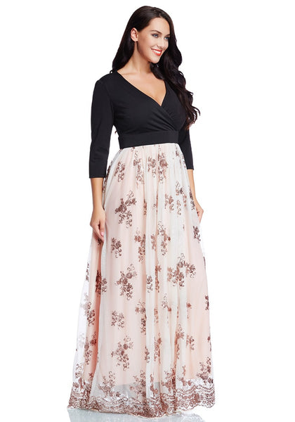 plus size floral sequin maxi dress | lookbook store