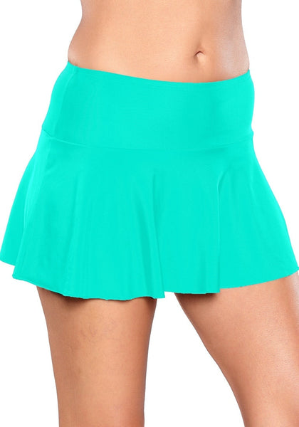 Right angled shot of model wearing solid aqua blue flared swim skirt