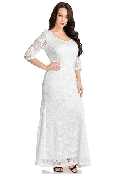 Right angled shot of model wearing white floral lace overlay sweetheart neckline maxi dress