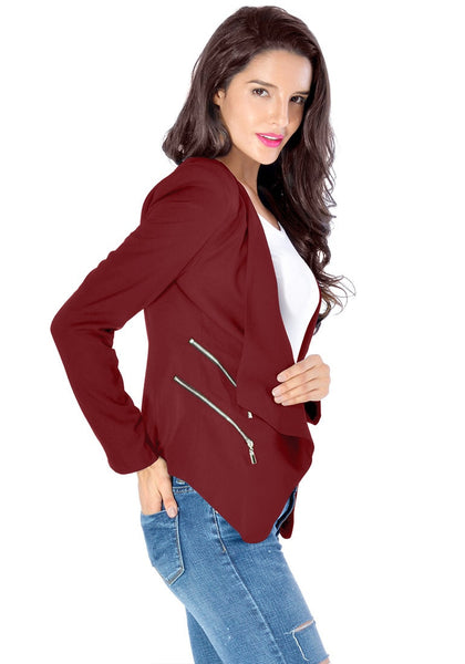 Right angled view of model in burgundy draped blazer
