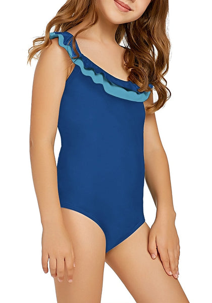 Right angled view of model in royal blue layered ruffle neckline one-piece girl swimsuit