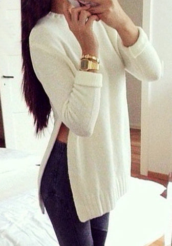 Beige Side Slit Tunic Sweater
