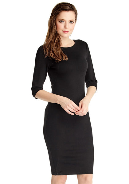 Right side view of model in black classic bodycon midi dress