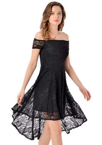 Black Lace Overlay High-Low Off-Shoulder Dress