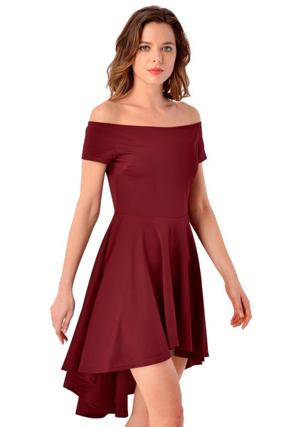 Right side view of model in burgundy off-shoulder high-low skater dress