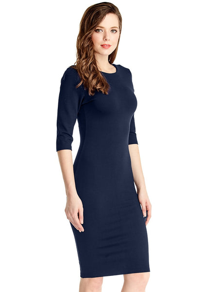 Right side view of model in navy classic bodycon midi dress