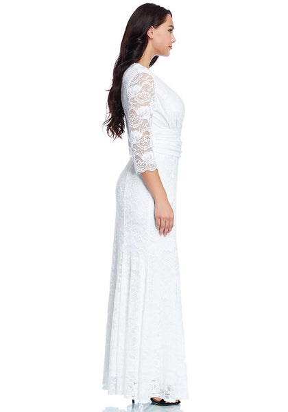 Right side view of model in plus size white lace long dress