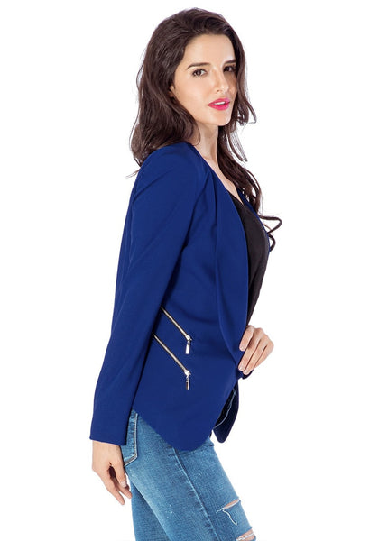Right side view of model in royal blue draped blazer