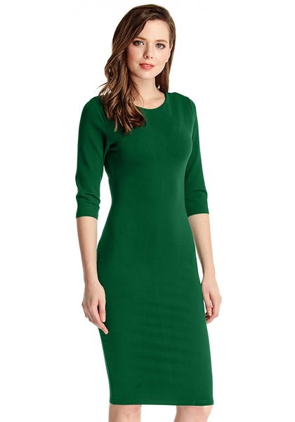 Right side view of model ingreen classic bodycon midi dress