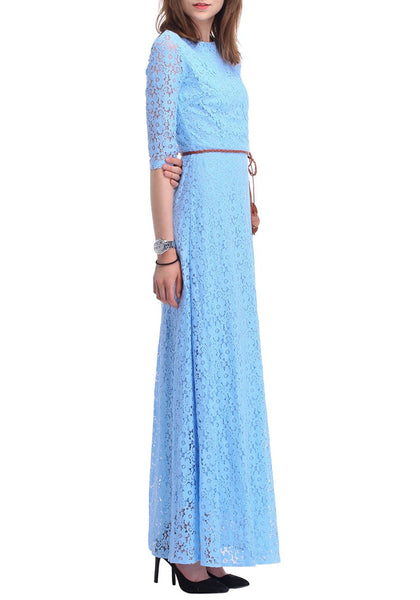 Right side view of woman wearing a powder blue maxi dress