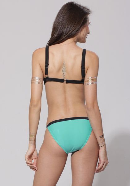 Aqua Contrast Trim Bikini Set - Hook Closure At Back