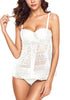 Model poses wearing white split-front hollow lace tankini set