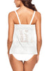 Back view of woman in white split-front hollow lace tankini set