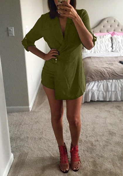 Sexy model in moss green suit-style chiffon romper