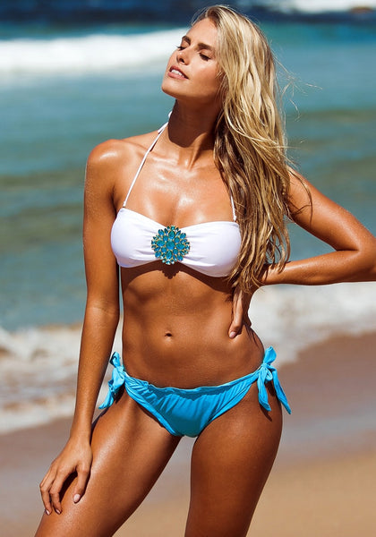 Sexy model in this totally rad two-piece swimwear