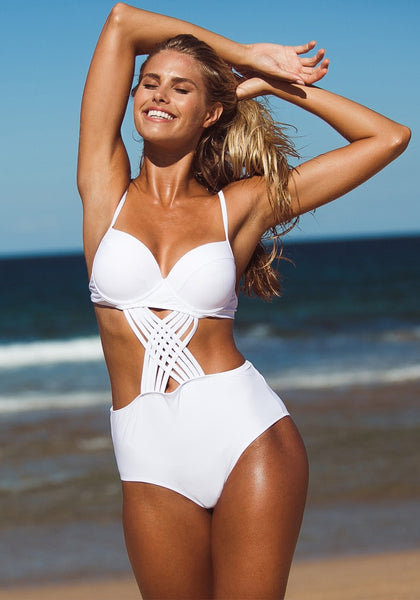 Sexy model wearing white crisscross-front monokini in the beach