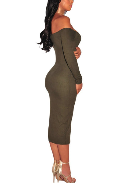 Side shot of model wearing army green ribbed knit faux button off-shoulder dress.