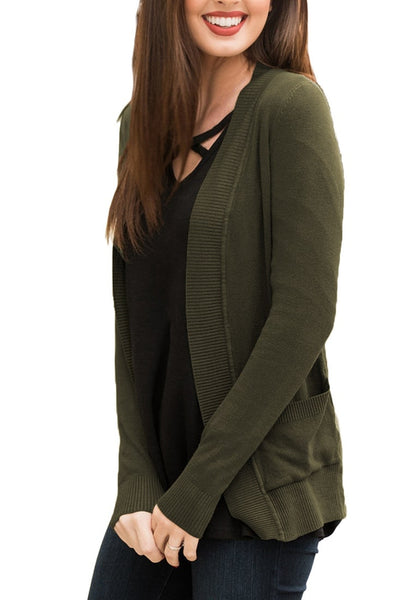Side shot of model wearing army green ribbed trim knit open-front cardigan