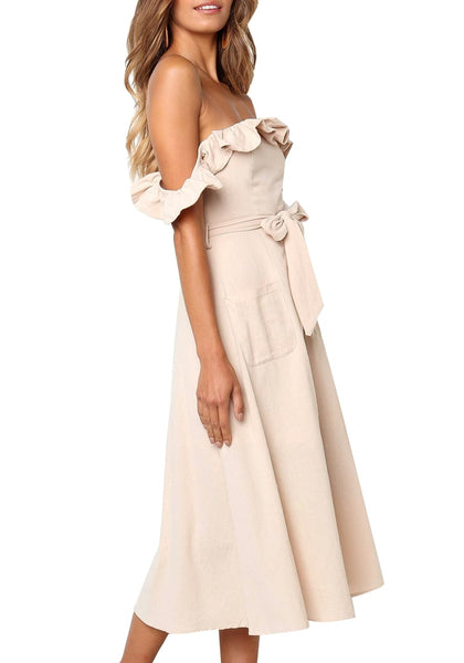 Side shot of model wearing beige ruffled off-shoulder belted midi skater dress