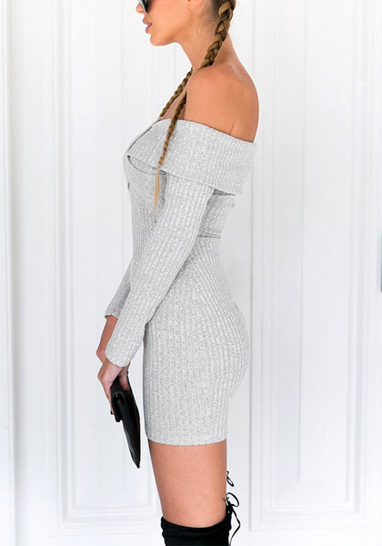 Side shot of model wearing grey cross-front off-shoulder mini dress