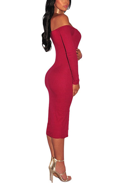 Side shot of model wearing red ribbed knit faux button off-shoulder dress.