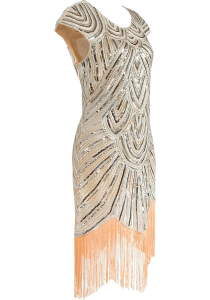 Side view of apricot sequin fringed flapper dress