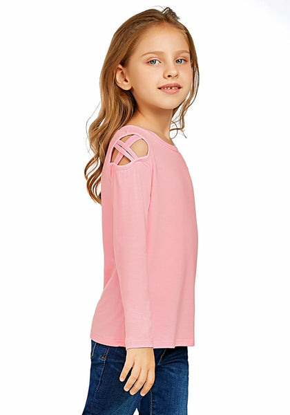 Side view of cute model wearing baby pink long sleeves crisscross cutout cold-shoulder girl top
