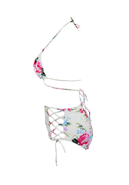 Side view of floral print high waist bikini set's 3D image