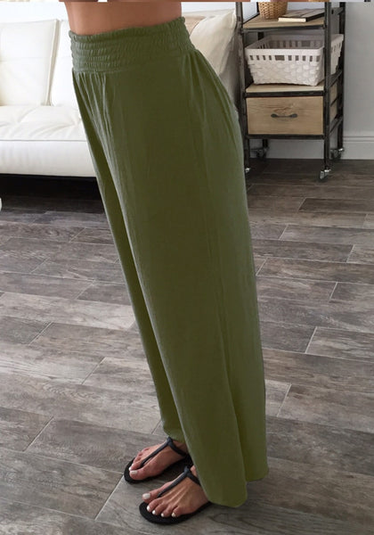 Side view of girl in army green elastic waist lounge pants