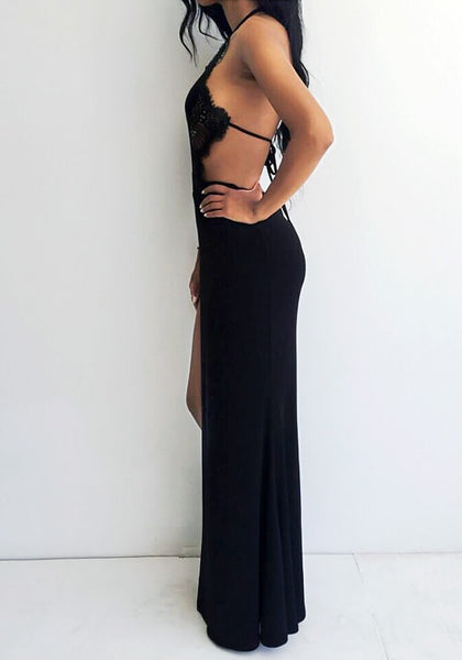 Side view of girl in black lace halter neck gown