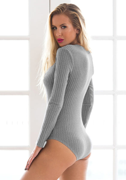 Side view of girl in grey ribbed lace-up bodysuit