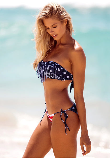 Side view of model in Stars & Stripes Tassels Bikini