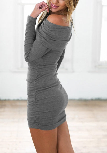 Side view of model in grey off-shoulder bodycon dress