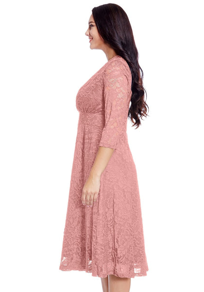 Side view of model in plus size old rose lace surplice midi dress