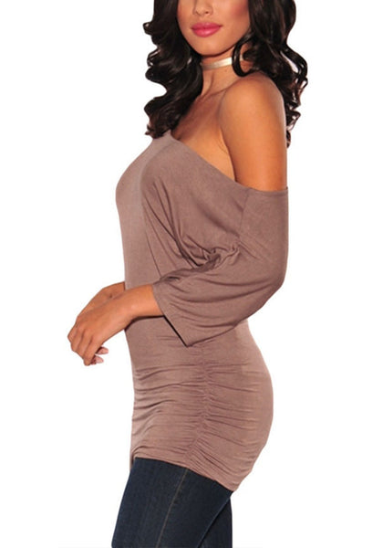 Side view of model in rosy brown short sleeves ruched tunic top