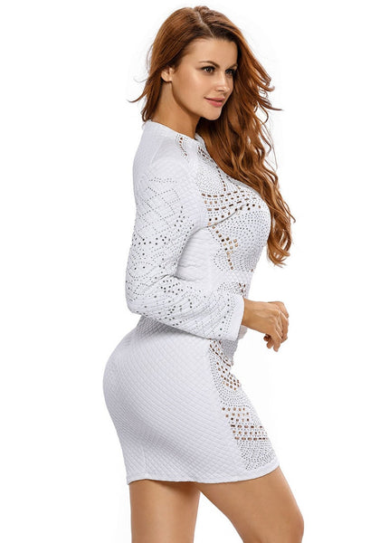 Side view of model in white jeweled quilted dress