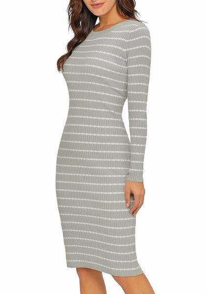 Side view of model poses wearing grey ribbed knit striped bodycon dress