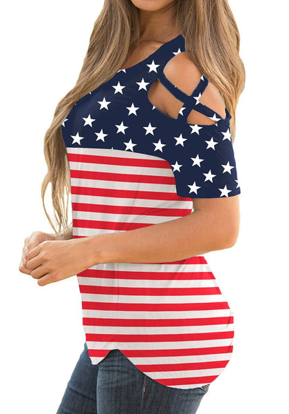 Side view of model wearing American flag crisscross cutout shoulder blouse