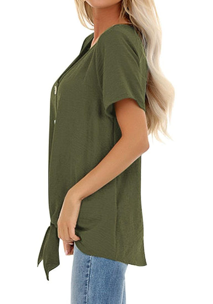 Side view of model wearing army green V-neckline short sleeves button-up tie-front top