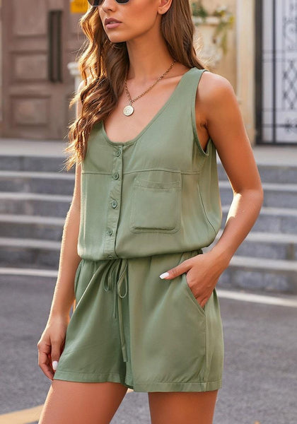 Side view of model wearing army green button-up drawstring-waist sleeveless romper