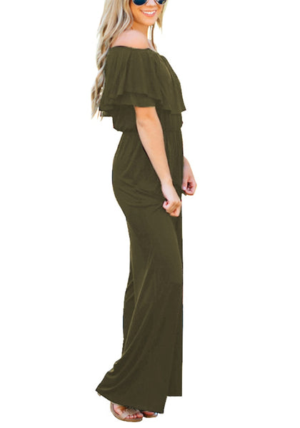 Side view of model wearing army green ruffled off-shoulder jumpsuit