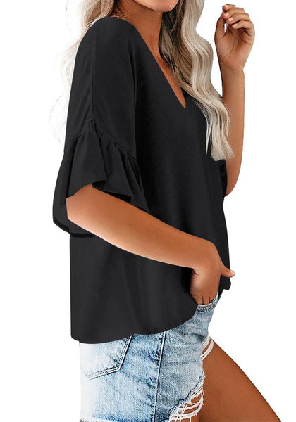 Side view of model wearing black V-neckline ruffle half sleeves button-up loose top