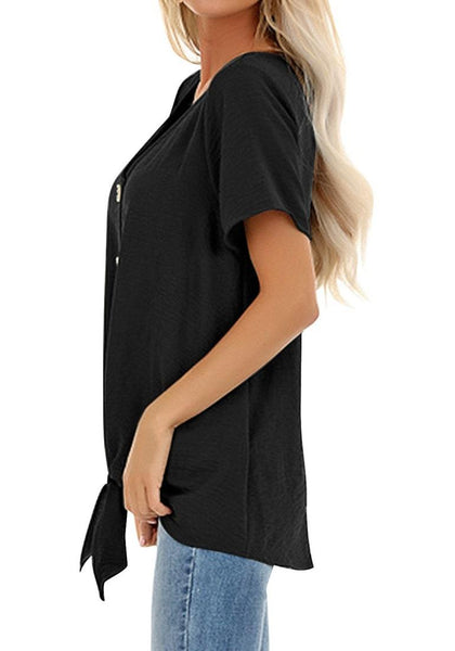 Side view of model wearing black V-neckline short sleeves button-up tie-front top