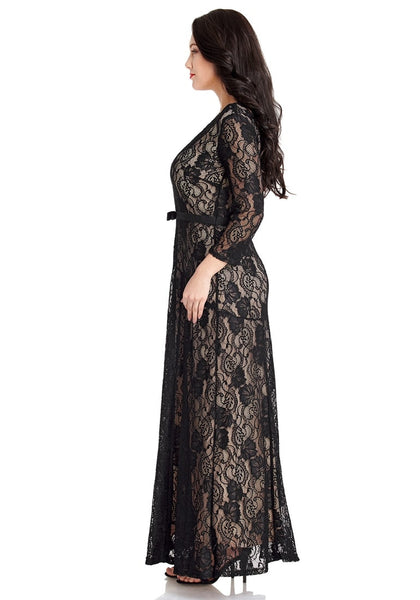 Side view of model wearing black floral hollow lace maxi dress